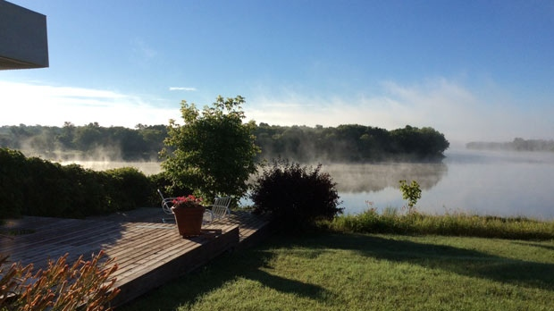 Fog rising from the Red River in Selkirk, Manitoba. Photo by: Bob Waterman.