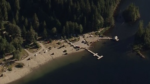 Buntzen Lake is seen from CTV Vancouver's Chopper 9 on Tuesday, July 17.