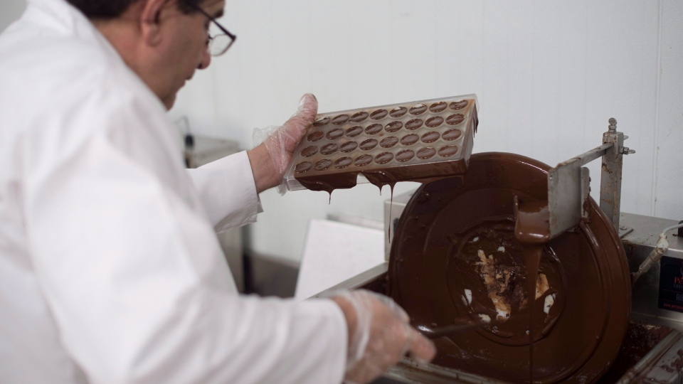 Syrian chocolatier Assam Hadhad puts chocolate into moulds at his Peace By Chocolate factory in Antigonish, N.S. on Saturday, September 9, 2017. (THE CANADIAN PRESS/Darren Calabrese)