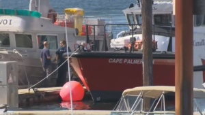 A Coast Guard vessel is seen at the Campbell River marina after recovering a woman who was killed by a falling tree on a hiking trail. July 17, 2018. (CTV Vancouver Island)