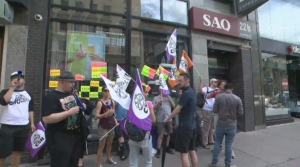 Union vice-president Simon Desjardins explains why the SAQ workers chose Tuesday to strike.