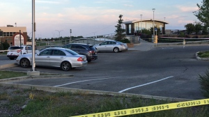 Three vehicles were stranded in a parking lot on the north side of the Crowfoot LRT station after a sinkhole created unsafe conditions on July 17, 2018