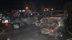 Muliple vehicles burn at Vars Auction site