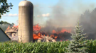 A barn in North Dumfries was destroyed by fire on Tuesday.