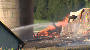 A barn in North Dumfries is destroyed after going up in flames on Tuesday.