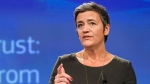 European Commissioner for Competition Margrethe Vestager speaks during a media conference on Gazprom at EU headquarters in Brussels on Thursday, May 24, 2018. (AP Photo/Geert Vanden Wijngaert)