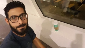 Hassan Al Kontar has been living in the arrivals area of the airport in Kuala Lumpur, Malaysia, since March 7, 2018. (Hassan Al Kontar / Twitter)