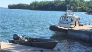 The Sureté du Quebec was searching Lac St. Louis on Wednesday July 18, 2018 for a pair of missing fishermen (CTV Montreal/JL Boulch)