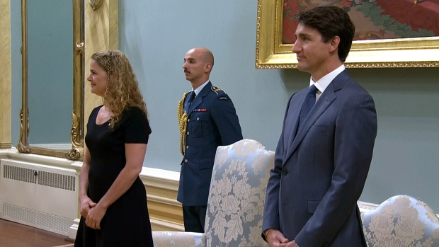 Governor General Julie Payette and Prime Minister Justin Trudeau stand during a swearing-in ceremony at Rideau Hall, Wednesday, July 18, 2018.