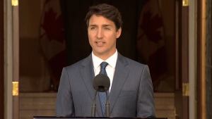 Prime Minister Justin Trudeau speaks after his cabinet shuffle, Wednesday, July 18, 2018.
