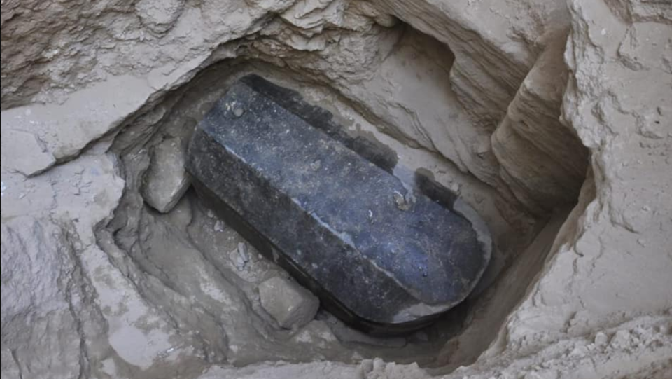 A ancient Egyptian sarcophagus has been found in the city of Alexandria. (Ministry of Antiquities/Facebook)