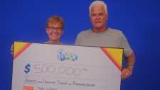 Robert and Dorothy James of Amherstburg won the $500,000 Maxmillions prize in the July 6, 2018 Lotto Max draw. (Courtesy OLG)