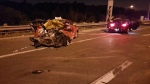 Police say this is the wreckage of a three-vehicle crash on Highway 401 through Toronto, Ont. on Monday, July 18, 2018. (OPP)