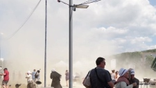 Dust devil sweeps through France festival
