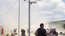 Dust devil sweeps through France festival
