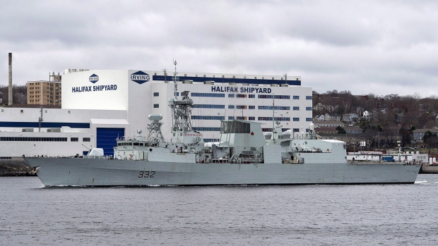 HMCS Ville de Quebec heads past the Irving-owned Halifax shipyard in Halifax on December 4, 2017. THE CANADIAN PRESS/Andrew Vaughan