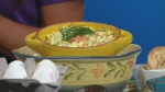 Egg salad, with smoked salmon and dill