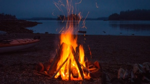 A campfire is pictured in the Broken Group Islands off the west coast of Vancouver Island in this undated image. (shutterstock)