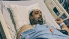 Muhammed Abu Marzouk is shown in recovery at a Toronto hospital on June 17, 2018. (Imam Ibrahim Hindy/Facebook)