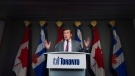Toronto Mayor John Tory speaks during a press conference regarding new tactics for the ongoing gun shootings in Toronto on Wednesday, July 18, 2018.THE CANADIAN PRESS/Nathan Denette