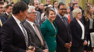 Dominic LeBlanc (left to right), Jim Carr, Melanie Joly, Amarjeet Sohi and Carla Qualtrough attend a swearing in ceremony at Rideau Hall in Ottawa on Wednesday, July 18, 2018. THE CANADIAN PRESS/ Patrick Doyle