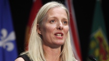 In this file photo, Minister of Environment and Climate Change Catherine McKenna speaks at a press conference after a meeting with provincial and territorial environment ministers in Ottawa on June 28, 2018. THE CANADIAN PRESS/ Patrick Doyle