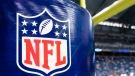 This Aug. 9, 2014 file photo shows an NFL logo on a goal post pad before a preseason NFL football game between the Detroit Lions and the Cleveland Browns at Ford Field in Detroit. (AP Photo/Rick Osentoski, File)