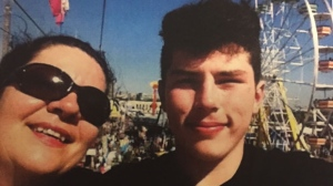 Kelly Whetter, Gabriel Nikov's mother, is seen here pictured with her son.