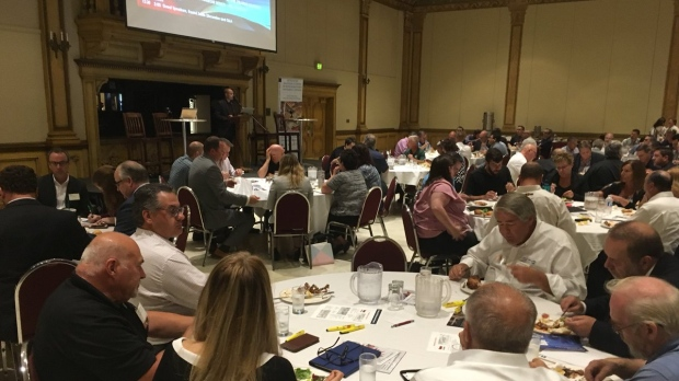 More than 250 business people discuss the impact of U.S. tariffs at a meeting in Windsor on July 18, 2018. ( Chris Campbell / CTV Windsor )