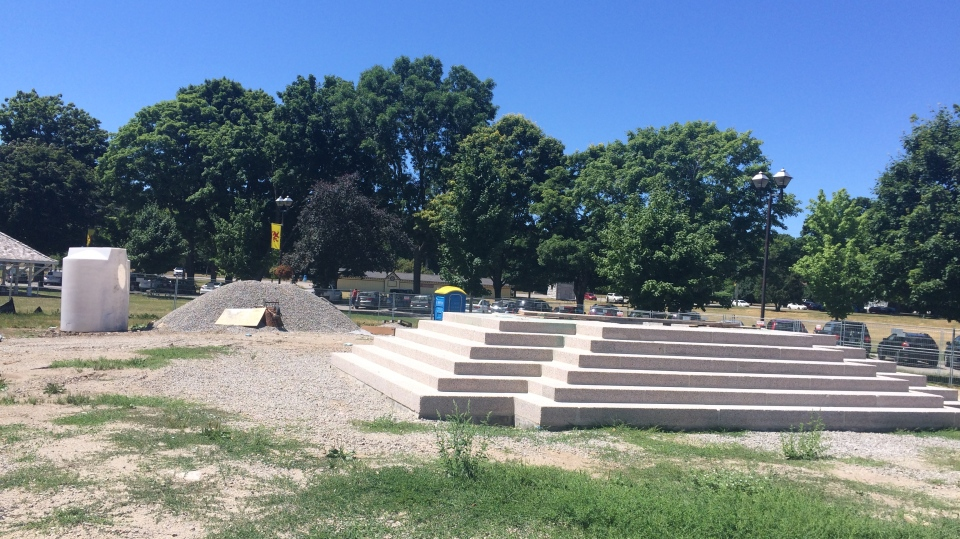 The Samuel de Champlain monument at Couchiching Beach Park in Orillia, Ont. has been removed for restoration. (Beatrice Vaisman/CTV News)