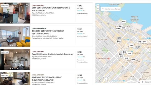 Vancouver listings are shown on Airbnb's website in this screen grab from July 18, 2018.