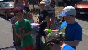 A Duncan Canadian Tire delivered a treat for kids in a Chemainus community who are affected by a bylaw planning play on the roadway. July 18, 2018. (CTV Vancouver Island)