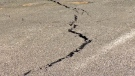 Crack in the pavement of a Crowfoot LRT parking lot following the emergence of a sinkhole