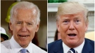 In this combination of file photos, former Vice President Joe Biden speaks in Collier, Pa., on March 6, 2018, and U.S. President Donald Trump speaks in the Oval Office of the White House in Washington on March 20, 2018. (AP Photo/File)