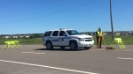 The RCMP respond to a collision in Dieppe, N.B. on July 19, 2018.