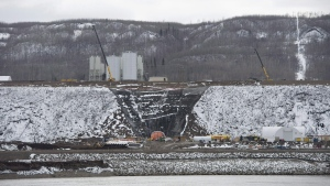 The Site C Dam location is seen along the Peace River in Fort St. John, B.C., on April 18, 2017. (THE CANADIAN PRESS/Jonathan Hayward)