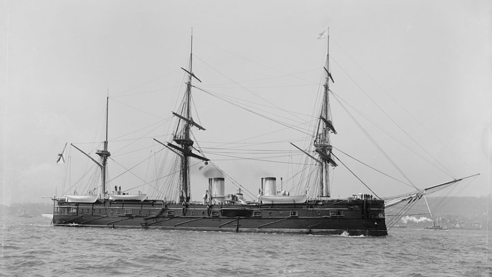 The Russian armoured warship called the Dmitrii Donskoi is photographed at New York Harbour on April 27,1893. (U.S. Navy)