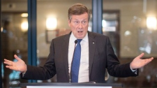 "Toronto Mayor John Tory speaks to the media about his proposal for the installation of ""ShotSpotter"" technology before attending a Toronto Police Services Board meeting in Toronto on Thursday, July 19, 2018. THE CANADIAN PRESS/Chris Young"