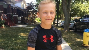 An 11-year-old boy discovered a decommissioned grenade inside his home on Gladstone Avenue in Windsor, Ont., on Thursday, July 19, 2018. (Chris Campbell / CTV Windsor)