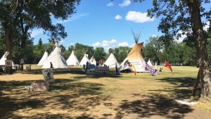 The Justice for our Stolen Children camp on July 19, 2018. (CREESON AGECOUTAY/CTV REGINA)
