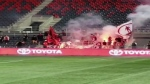 Toronto FC fans set fire and shoot flares at TD Pl