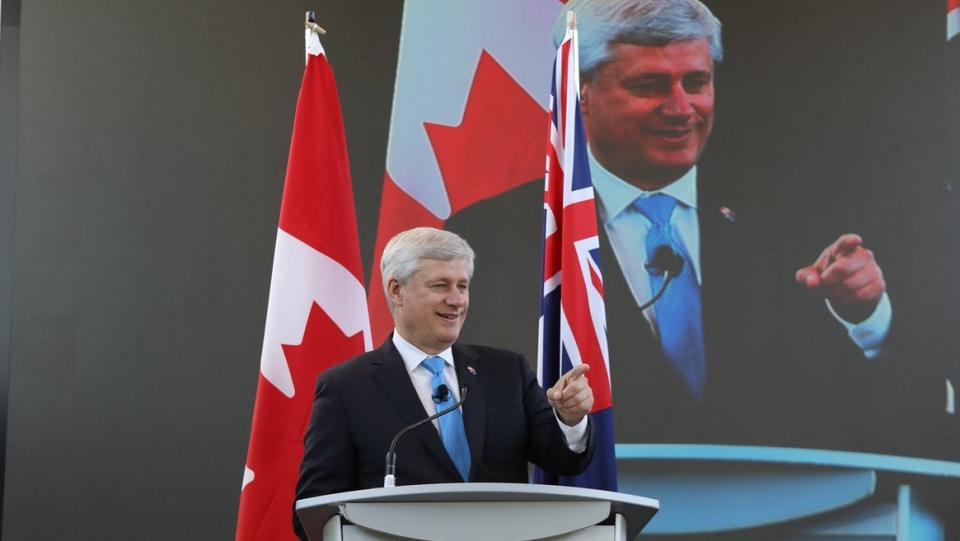 Former prime minister Stephen Harper at the Australia-Canada Economic Leadership Forum. (Stephen Harper / Twitter)