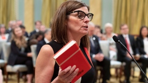 Filomena Tassi is sworn in as Minister of Seniors during a ceremony at Rideau Hall in Ottawa on Wednesday, July 18, 2018. (THE CANADIAN PRESS/Justin Tang)
