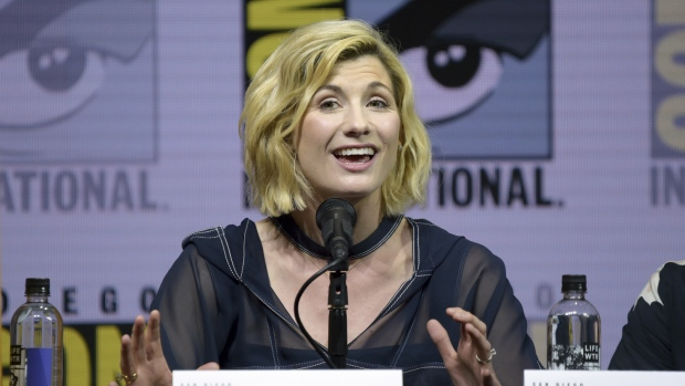 Jodie Whittaker speaks at the 'Doctor Who' panel on day one of Comic-Con International in San Diego on Thursday, July 19, 2018. (Richard Shotwell/Invision/AP)