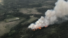 One of the dozens of new fires that broke out overnight is burning northwest of Vanderhoof. (BC Wildfire Service)