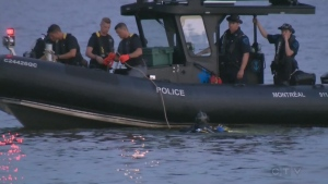 A Montreal police boat on patrol in Lac St. Louis