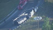 Truck rollover on Highway 400 ramp