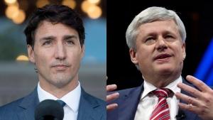 Prime Minister Justin Trudeau and former prime minister Stephen Harper.
