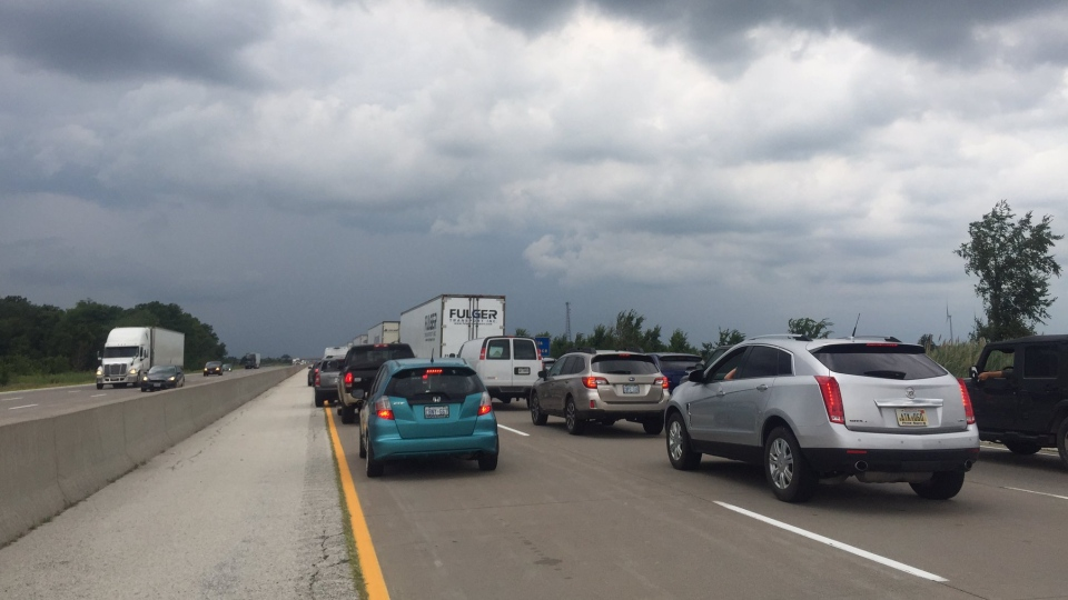 Traffic at a standstill on Highway 401 westbound near Puce Road in Lakeshore, Ont., Friday, July 20, 2018. (Sacha Long / CTV Windsor)
