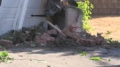 A home on Hurst Drive in Barrie, Ont., has significant damage after a stolen vehicle crashes into it on Friday, July 20, 2018. (Jim Holmes/CTV Barrie)
